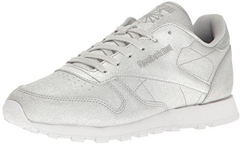 Reebok Women's Cl Lthr Syn Fashion Sneaker, Diamond-Silver Metallic/Snow Grey/White, 10 M US -