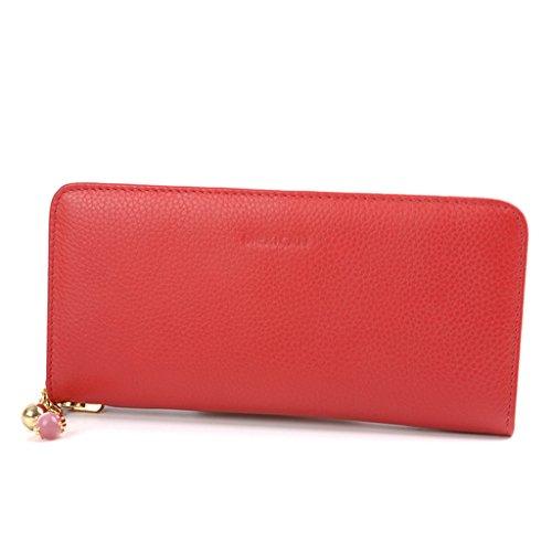 Portafoglio Femminile Sezione di denaro Folder Zipper del sacchetto di mano del sacchetto del raccoglitore della mano Portafoglio ( colore : Rosso ) Rosso
