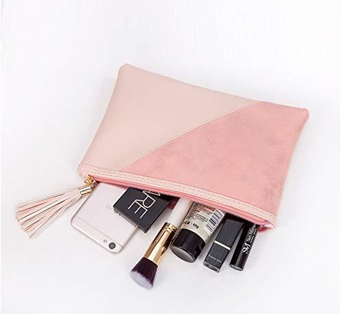 Kosmetiktasche Tragbare Wasserdichte Damen Pu Quaste Einfache Mode Nähen Hand Tasche Make-Up Tasche