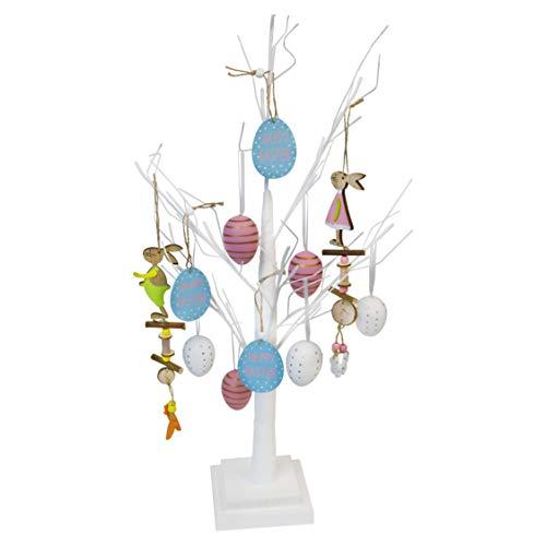 By robelli, grande albero di pasqua da tavolo, con decorazioni da appendere, colore bianco