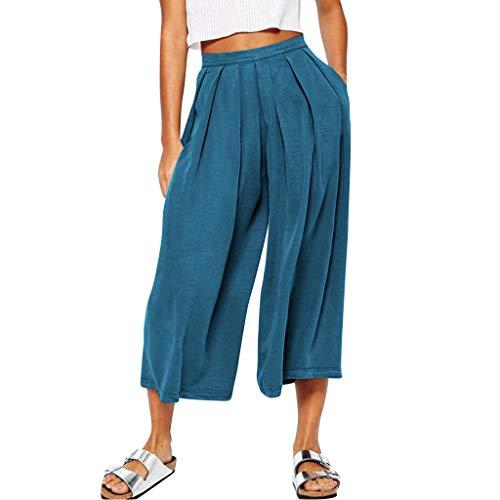 Hosen Damen Lang Sommer Casual Weite Hose mit Weitem Bein Freizeit Frauen Vintage Hosen Baumwolle und Leinen Baggy Retro Hose Damen 3/4 Sommer Lockere