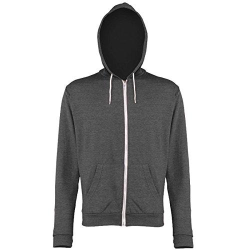 Heather zoodie AWDis Hoods Streetwear Felpa Cappuccio Uomo Grey Heather