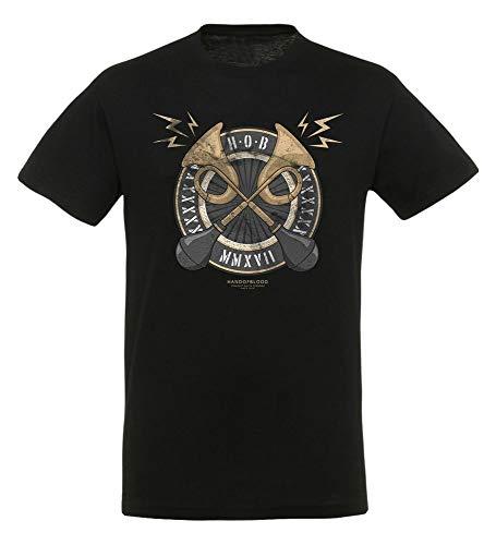 HandOfBlood Horns T-Shirt | Original Fan-Artikel | in Schwarz aus Baumwolle | YouTube Merchandise, Größe:L -