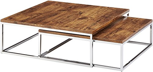 Relaxdays Table basse avec plateau en bois FLAT lot de 2 nature HxlxP: 27 x 80 x 80 cm table gigogne carré gain de place lot de 2 salon canapé table d'appoint cadre métal chromé, noir-marron