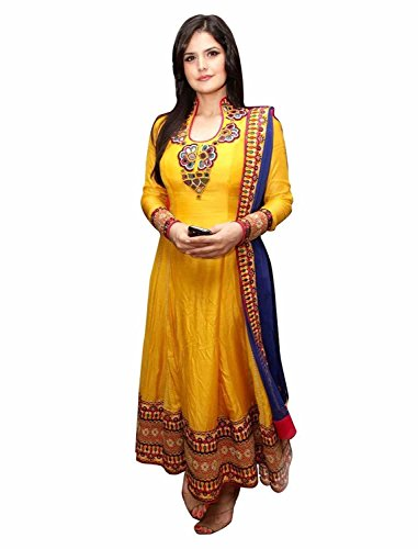 Super Deal Woman\'s Yellow Cotton Anarkali Unstitched Free Size XXL Salwar Suits Sets Dress (Indian Clothing)