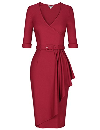 MUXXN Women's Rockabilly 60s Office Dress Burgundy 16/18