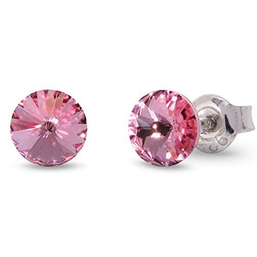 Spark Swarovski Elements Damen Ohrstecker Sterling Silber 925, Swarovski Kristall 6 mm rund rosa (Rosa Ohrstecker)