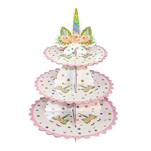 Kuchen Stand, 3 Tier Karton Cupcake steht Einweg Dessert Tower Display Halter faltbare Kuchen Rack für Hochzeit Geburtstag Weihnachtsfeier (Cupcake Steht Karton)