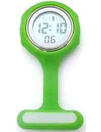 QBD Green Digital Unisex Multi Function Silicone Nurses/Brooch/Tunic/Fob/Pocket/Carabiner Watch