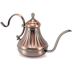 mylifeunit über Kaffee Gießen Wasserkocher, Edelstahl Hand Drip Wasserkocher über Kaffee Gießen und Teekanne 450ml/444ml kupfer