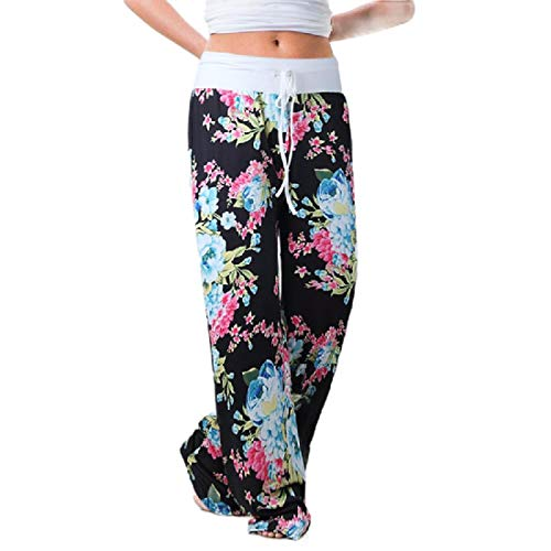 83ec6bab0d6b CuteRose Womens Stretch Floral Print Drawstring Lounger Wide Leg Pants 15  2XL