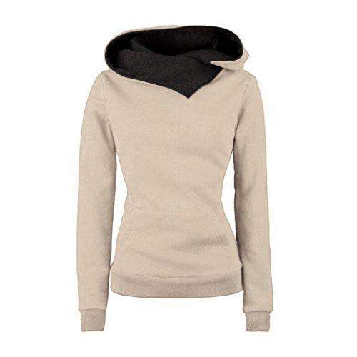 Koly_Manica lunga con cappuccio Felpa con cappuccio in cotone Maglione Pullover Cappotto (s, cachi )