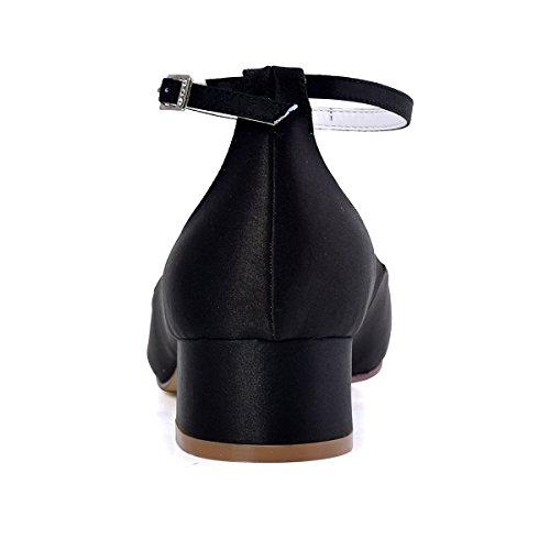 ElegantPark Femmes Bout Fermé Bloc Talon Pompes à sangle de cheville Chaussures de Mariage Soirée Noir