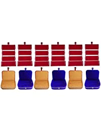 Afrose Combo 6 Pc Red Earring Folder 3 Pc Ring Box And 3 Pc Blue Ear Ring Box Jewelry Vanity Box