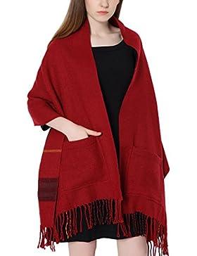 Bufanda con bolsillos para mujer, de cuadros, con borlas, manta, chal enrollable por los dos lados para el invierno