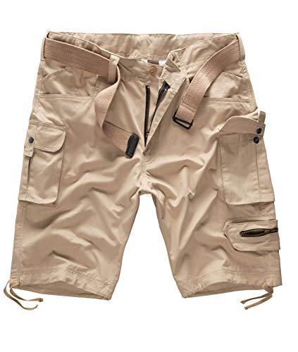 Rock Creek Herren Cargo Shorts mit Gürtel Short Kurze Hose Herrenshorts Cargoshorts Sommer Hose Bermuda Hosen Outdoorshorts H-171 Dunkelbeige W44 -