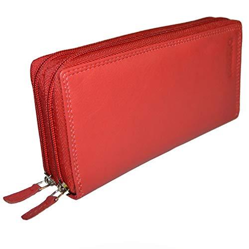 flevado Xl Portemonnaie Große Damen Wild Leder Geldbörse mit viel Stauraum und Platz für 22 Karten (hellrot)