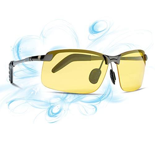 6025c56307 Lunettes de vision nocturne polarisées pour hommes TJUTR, lunettes HD jaunes  Cadre en métal Da