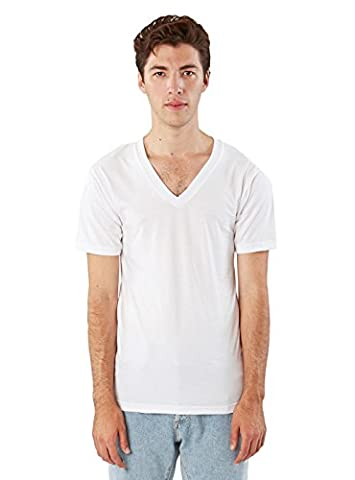 American Apparel Unisex Fine Jersey Short Sleeve V-Neck, White, Large