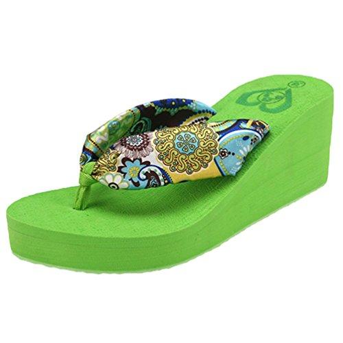 CHENGYANG Donna Sandali Infradito Tacco Piattaforma Zeppa Sandal Flip Flops Ciabatte da Spiaggia Verde