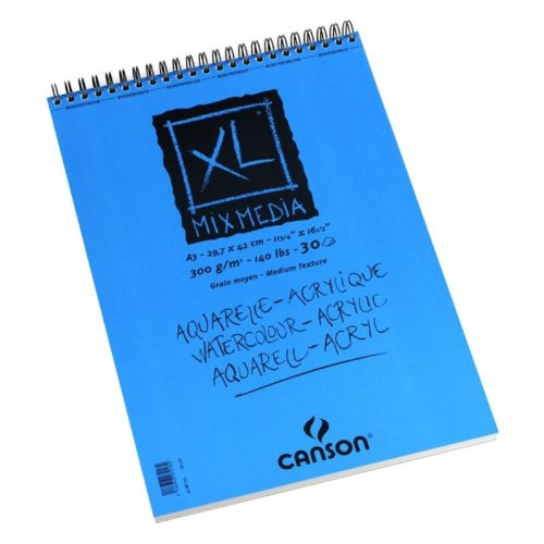 Canson 807216 Zeichenpapier Block XL - Mix Media, DIN A3, 300 g/qm, 30 Blatt