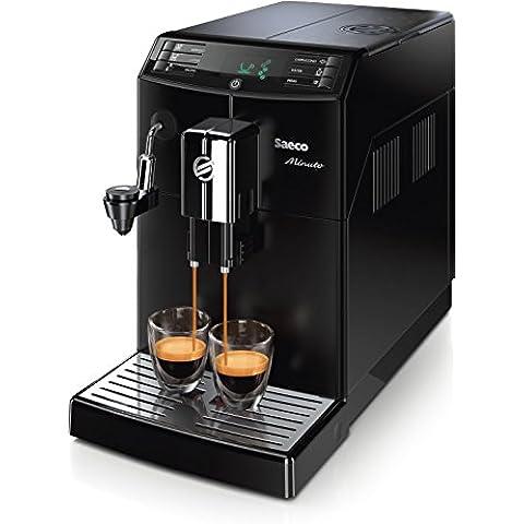 Philips HD8862/01 - Cafetera automática  espresso Saeco Minuto con espumador de leche automático,  molinillos 100% cerámicos,  Guarda tus ajustes de café favoritos, piezas aptas para el lavavajillas