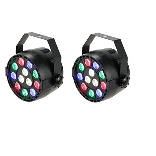RGBW Projecteur Led 2 PACK, Lixada 15W DMX512 Éclairage de scène, Lampe de Scène, 8 canaux Commande Vocale automatique, AC 100-240V PAR Light Strobe Professionnel Noël Party Disco Show