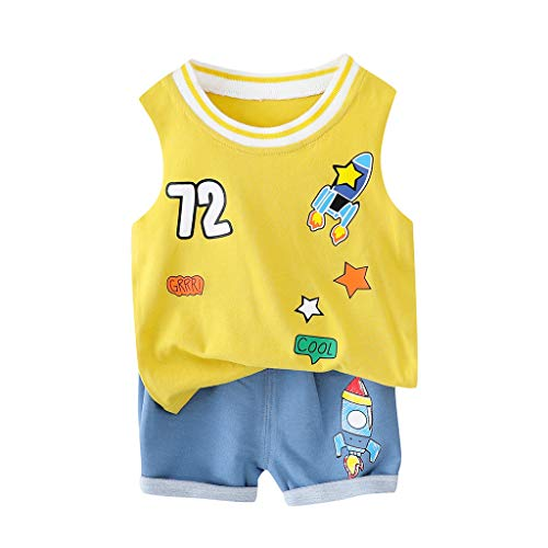 sunnymi  ® 0-24 Monate Kinder Baby Junge Cartoon Rocket Weste Tops Short Casual Outfits Set