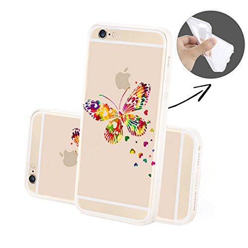 Finoo Silicone Motivo 9 - Queen Con corona, iPhone 6/6S Farfalla perde Cuori