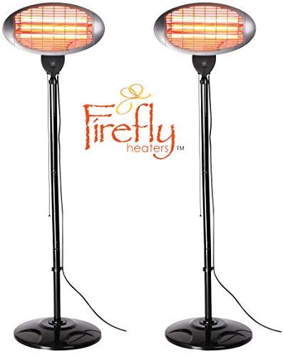 Firefly Lot de 2 Chauffage Extérieur de Terrasse IPX4 Radiant Infrarouge à Tubes Quartz 3 Réglages de Chaleur Parasol Chauffant Autoportant Hauteur Ajustable 2.10m 2000 Watt