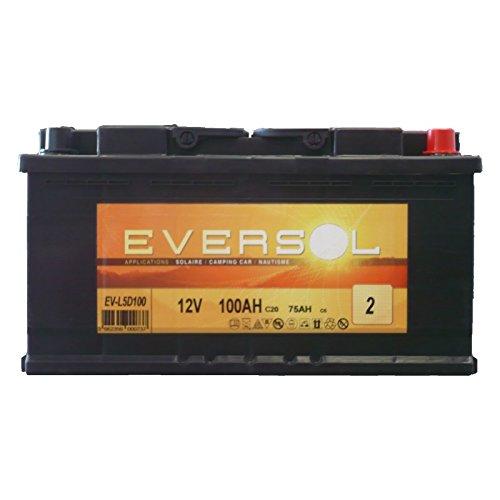 Batterie stationnaire à décharge lente Eversol 100Ah 12V - Expédiée depuis la France