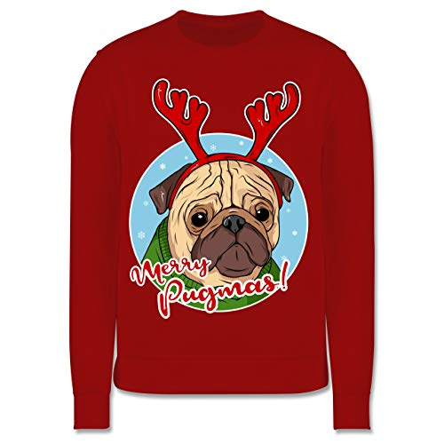 Shirtracer Weihnachten Kind - Merry Pugmas! - 12-13 Jahre (152) - Rot - JH030K - Kinder Pullover