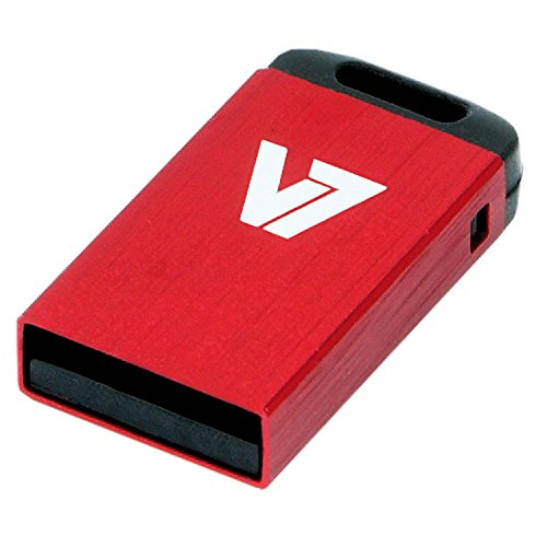 V7 VU28GCR-RED-2E Nano USB 2.0 Flash Drive 8GB gebürstetes Aluminium rot
