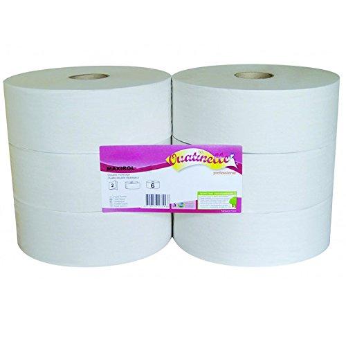 Papier toilette blanc MAXIROL 2x16g/m² - Carton de 6 rouleaux - 2 plis - 320m - I332LMR