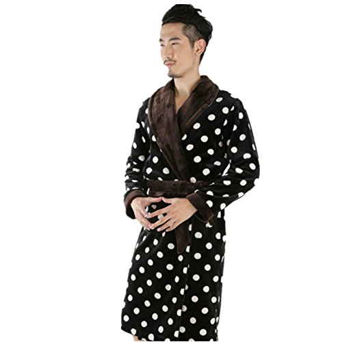 DMMSS Uomo accappatoi velluto corallo camicia da notte spessi flanella pigiami lunghi , xxl