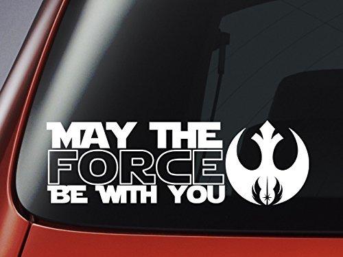 """Preisvergleich Produktbild Autoaufkleber Star Wars """"May The Force Be With You"""" mit Jedi-Logo, Vinyl,für Auto/ Fenster/ Wand/ Laptop"""