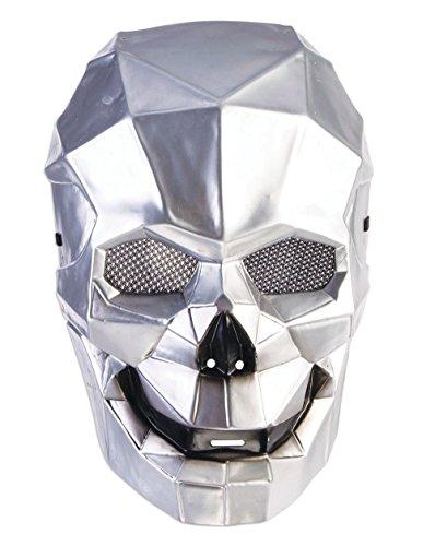 Forum Novelties X78658 Cyborg Skull Maske, Unisex-Erwachsene, Silber, One Size