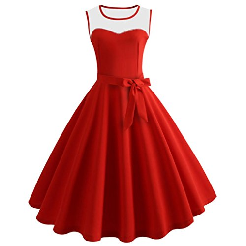 TIREOW Damen Ärmellose Bodycon Vintage Abend Party Damen Midi Swing Kleid (Rot, XL)