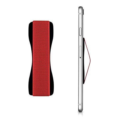 kwmobile Smartphone Fingerhalter Griff Halter - Handyhalter Handy Halterung Einhandbedienung - für iPhone Samsung Sony LG Huawei UVM. - Schwarz Rot