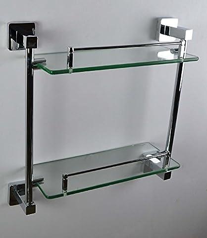 housler® carré double Étagère en verre 2niveaux plaqué chrome accessoires