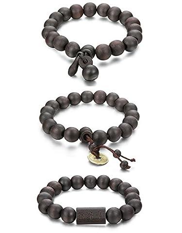 Sailimue 11mm 2-6 Pcs Wood Beaded Bracelet for Men Buddsiht Bracelet Elastic (D 3 Pcs a Set)