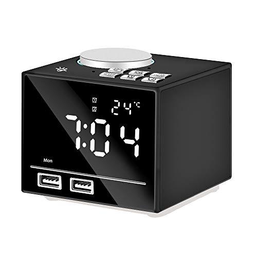 Anole Radiowecker Digital Wecker Bluetooth Wecker mit FM Radio Nachtlicht USB Ladefunktion Dimmbaren Display 2 Weckzeiten Temperaturanzeige Snooze Schlummerfunktion LED Spiegel Bildschirm(Schwarz)