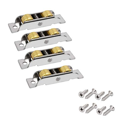 Stillshine 4 Stück Tandem Rollen Läufer Rad Montage für Schiebefenster und Schiebetür (14mm Breite, flache rollen)