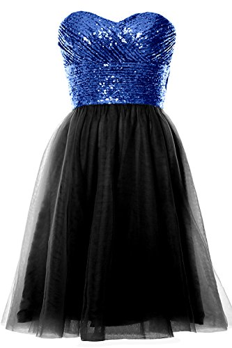 MACloth Women Strapless Cocktail Dress Sequin Short Wedding Party Formal Gown Royal Blue-Black