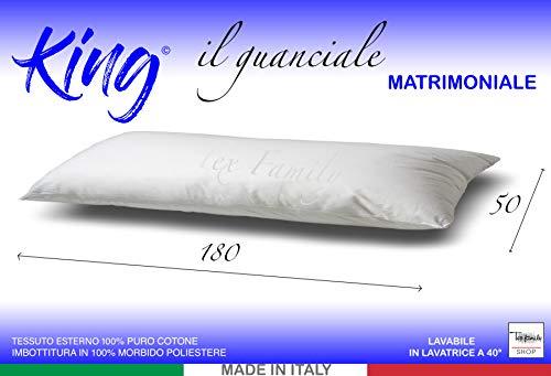 tex family GUANCIALE King Cuscino Letto 2 PIAZZE Matrimoniale Lungo cm. 180 Mis. CM. 50 X 180