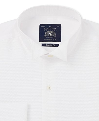 Savile Row Men's White Wing Collar Marcella Bib Front Classic Fit Double Cuff Evening Shirt 15