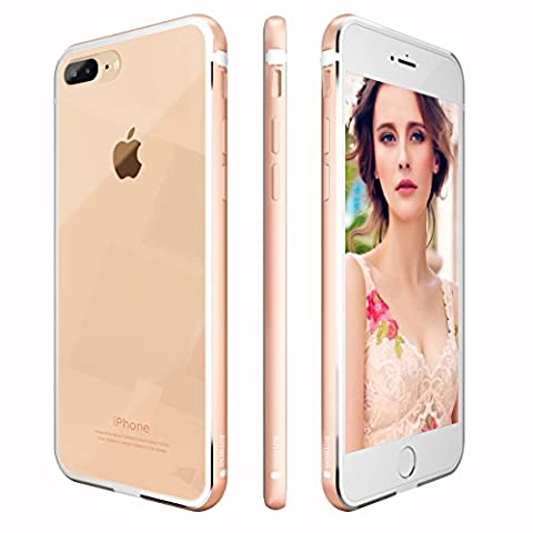 iPhone 7 plus Hülle, Roybens Metall Silikon 2 in 1 Extra Dünn Stoßfest Durchsichtig [Transparent] Schalen Clear Taschen für 2016 Apfel [Apple] iPhone7 plus, Gold