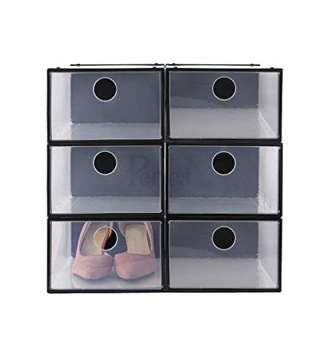 Periea extra-starke Kunststoff-Schuh-Boxen mit Öffnung vorne, geeignet für unter das Bett, transparent / schwarz, Codie, 6 Stück