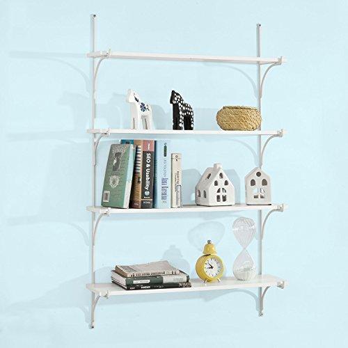 Sobuy® set da 4 mensole da muro, libreria, scaffale a scala,bianco, frg191-w,it