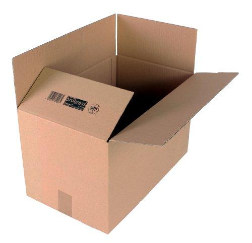 progressCARGO - PC K20.07 - Caja de embalaje (cartón ondulado, 2 ondulaciones, 500 x 300 x 300 mm, 10 unidades), color marrón